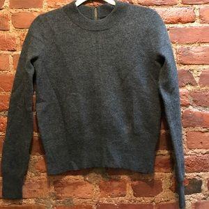 J Crew NWT gray wool sweater with cute zip, XXS